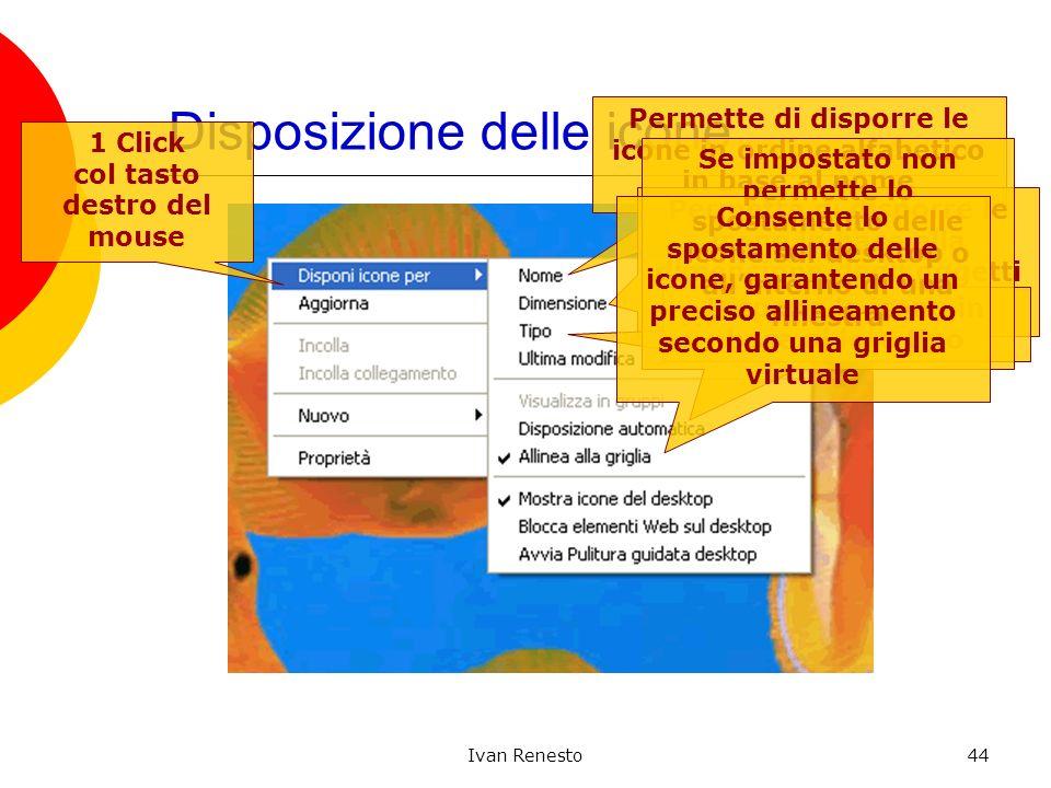 Ivan Renesto44 Disposizione delle icone 1 Click col tasto destro del mouse Permette di disporre le icone in ordine alfabetico in base al nome Permette
