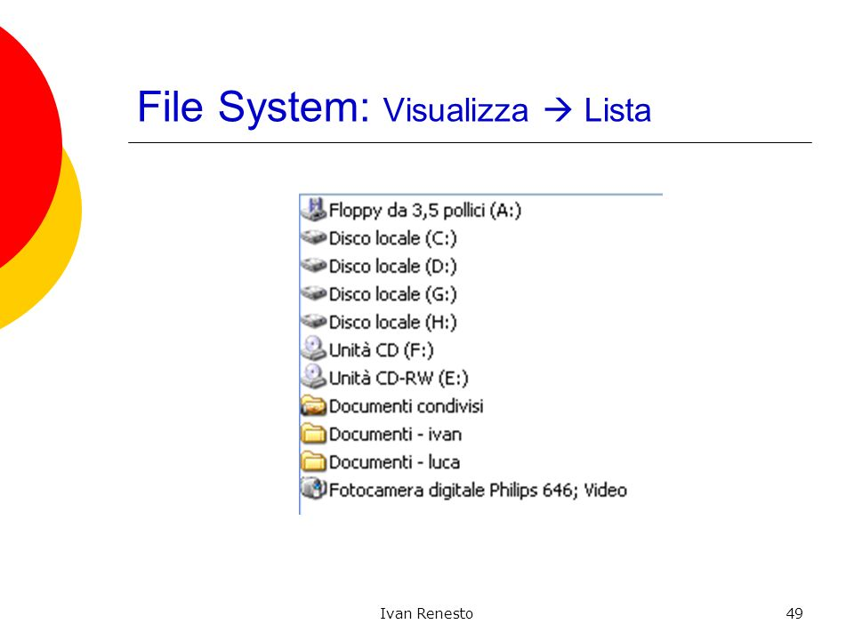 Ivan Renesto49 File System: Visualizza Lista