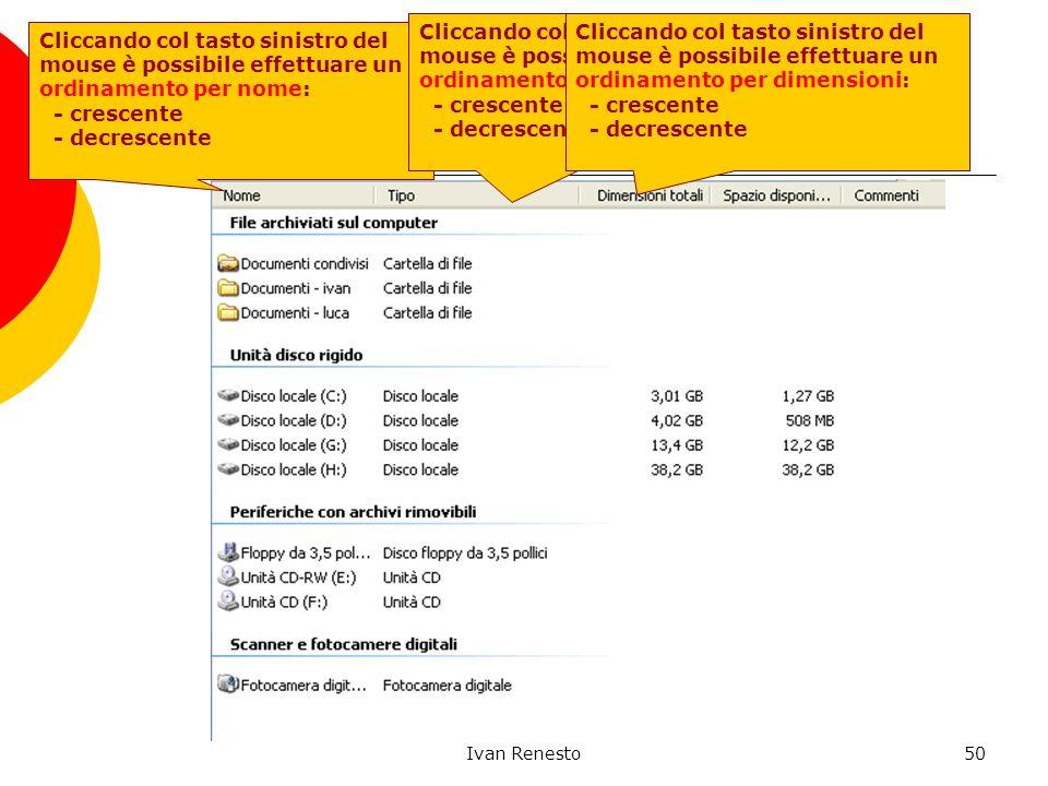 Ivan Renesto50 File System: Visualizza Dettagli Cliccando col tasto sinistro del mouse è possibile effettuare un ordinamento per nome: - crescente - decrescente Cliccando col tasto sinistro del mouse è possibile effettuare un ordinamento per tipo: - crescente - decrescente Cliccando col tasto sinistro del mouse è possibile effettuare un ordinamento per dimensioni: - crescente - decrescente