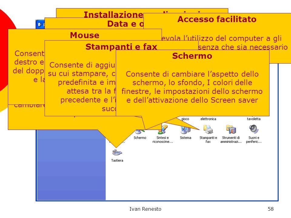 Ivan Renesto58 Pannello di Controllo Consente di definire ogni tipo di impostazione per il Computer Start Control Panel Start Pannello di Controllo St