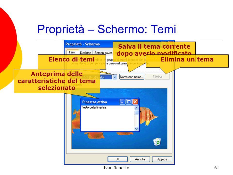 Ivan Renesto61 Proprietà – Schermo: Temi Elenco di temi Salva il tema corrente dopo averlo modificato Elimina un tema Anteprima delle caratteristiche