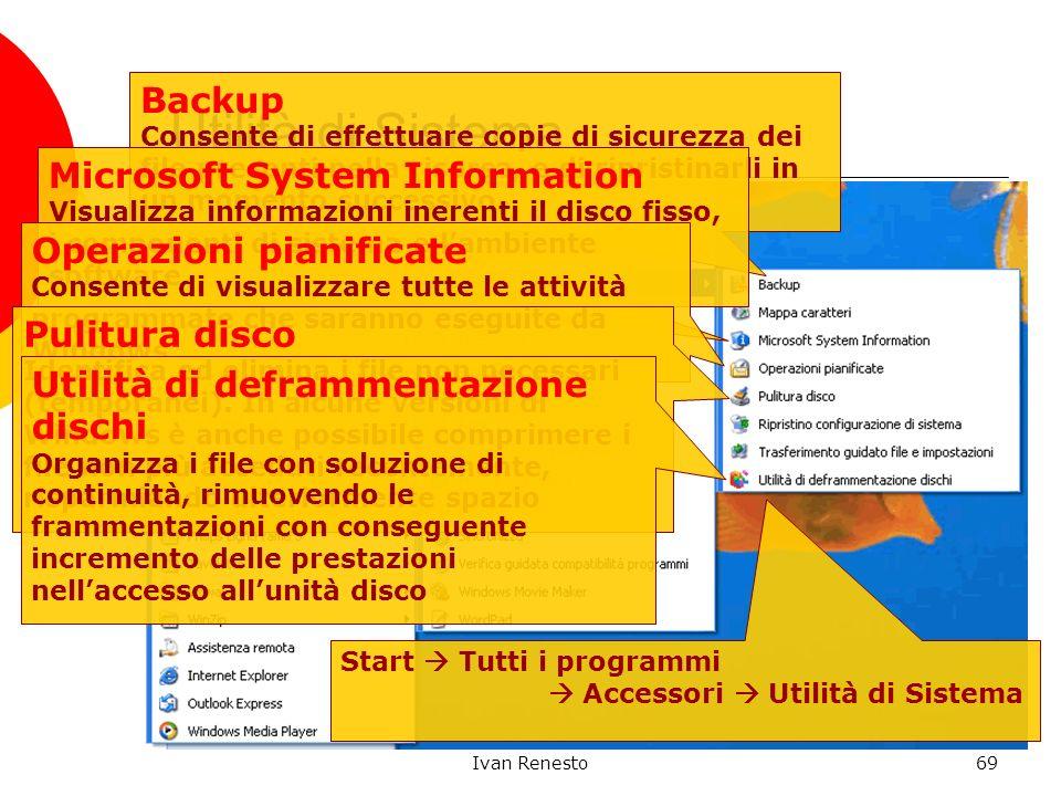 Ivan Renesto69 Utilità di Sistema Start Tutti i programmi Accessori Utilità di Sistema Backup Consente di effettuare copie di sicurezza dei file prese