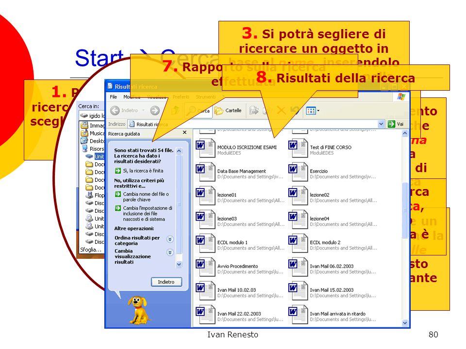 Ivan Renesto80 Start Cerca 1. Per iniziare una ricerca occorre anzitutto scegliere ciò che si vuole cercare 2. Tipicamente, per cercare un file o una