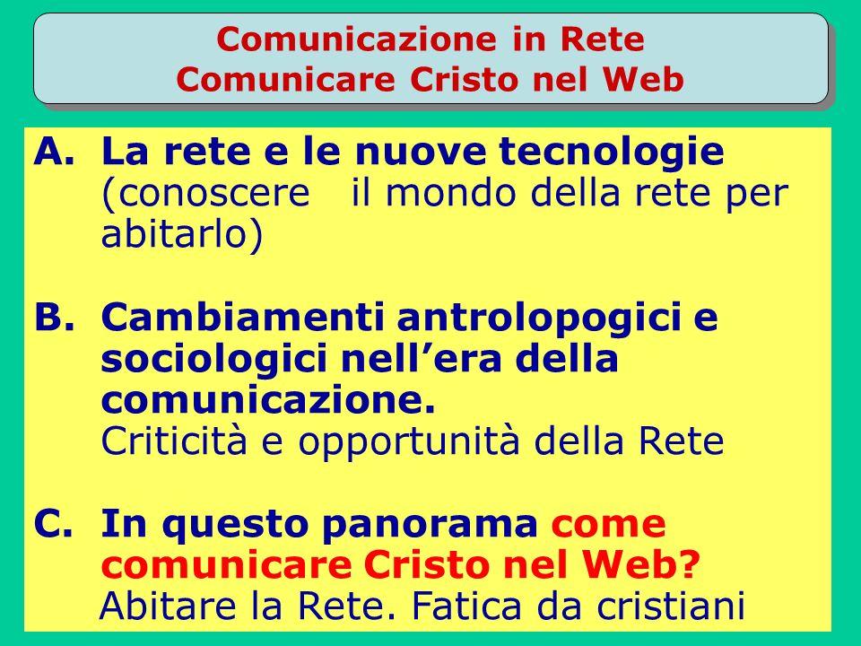 Comunicazione in Rete Comunicare Cristo nel Web A.La rete e le nuove tecnologie (conoscere il mondo della rete per abitarlo) B.Cambiamenti antrolopogici e sociologici nellera della comunicazione.