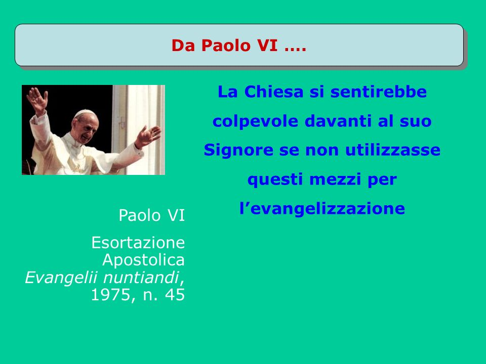 Qualche esperienza a)Corsi e-learning (www.webcattolici.it con docenti universitari) b)Preti online c)www.siticattolici.it (Francesco Diani) d)www.parrocchie.it e)Prete & blogger (Marco Sanavio) f)Un giornalista: Marco Palmisano g)Google in Vaticano: letica del Web h)Vangelo in Rete: giovani alla ricerca di maestri i)www.nonnionline.it j)Giovani, Web ed educazione alla fede k)Una fede modello Twitter (evangelici) l)Blogging contemplativo m)Formare missionari per il Web n)Nascita dei Portaparola o)Il mio blog: spazio di autenticità (Mauro Leonardi) p)Ormai cè unintensa attività del mondo cristiano in rete (siti, portali, blog, partecipazione a social nertwork… sia da parte di parrocchie che di gruppi, associazioni come la nostra, siti personali….