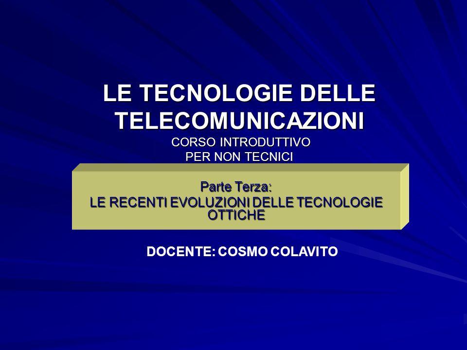 LE TECNOLOGIE DELLE TELECOMUNICAZIONI CORSO INTRODUTTIVO PER NON TECNICI Parte Terza: LE RECENTI EVOLUZIONI DELLE TECNOLOGIE OTTICHE DOCENTE: COSMO CO