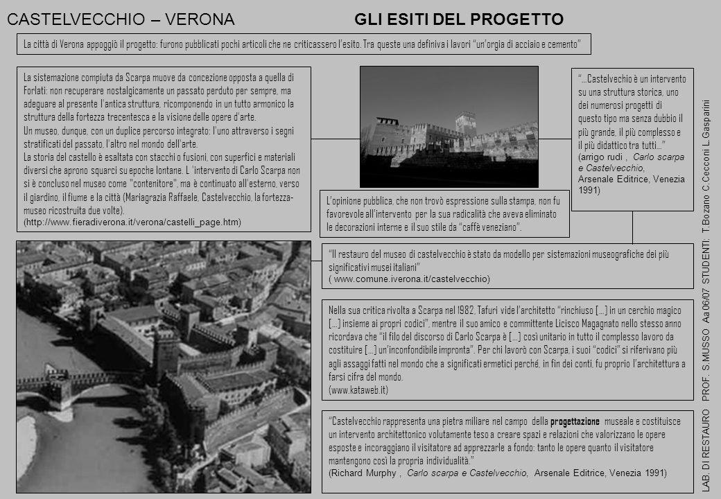 CASTELVECCHIO – VERONA GLI ESITI DEL PROGETTO LAB. DI RESTAURO PROF. S.MUSSO Aa 06/07 STUDENTI: T.Bozano C.Cecconi L.Gasparini …Castelvechio è un inte