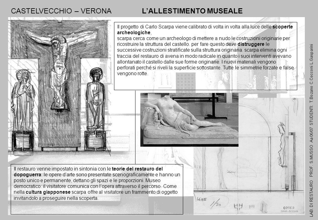 LAB. DI RESTAURO PROF. S.MUSSO Aa 06/07 STUDENTI: T.Bozano C.Cecconi L.Gasparini CASTELVECCHIO – VERONA LALLESTIMENTO MUSEALE Il restauro venne impost