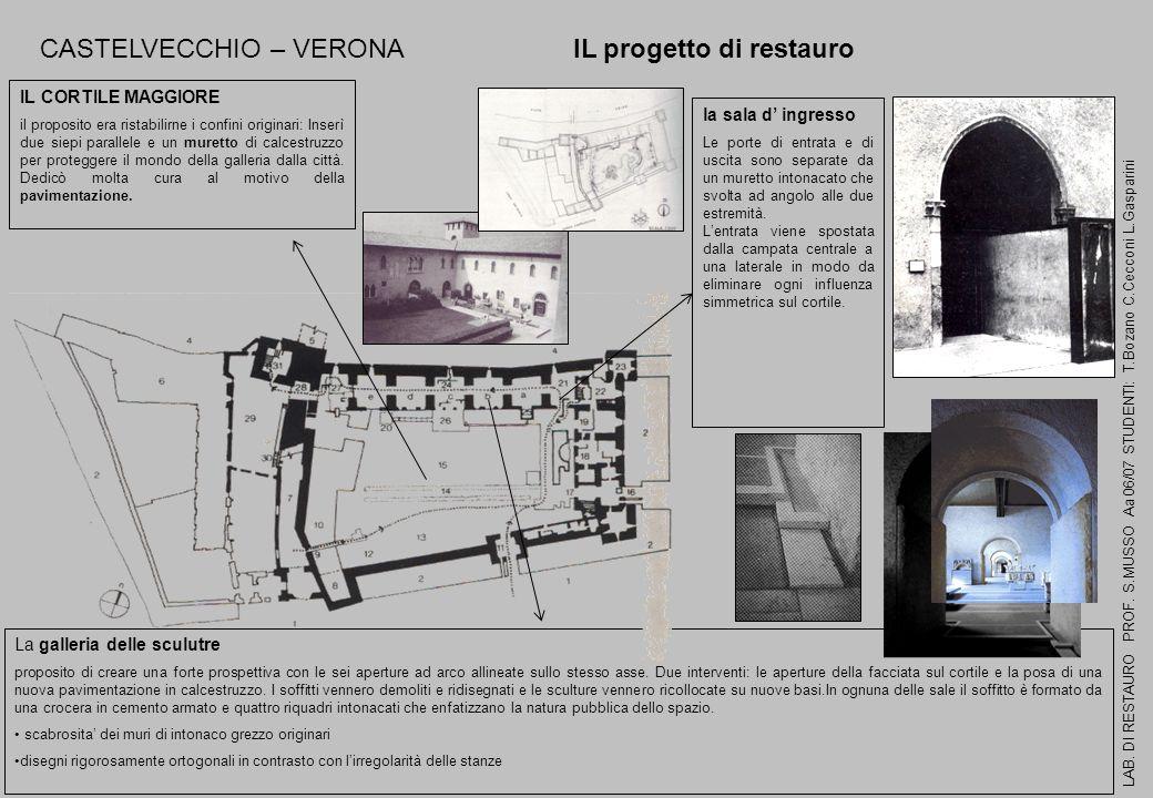 CASTELVECCHIO – VERONA IL progetto di restauro LAB. DI RESTAURO PROF. S.MUSSO Aa 06/07 STUDENTI: T.Bozano C.Cecconi L.Gasparini la sala d ingresso Le