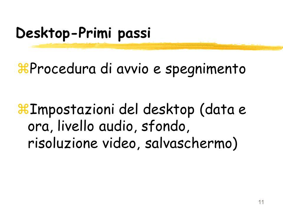 11 Desktop-Primi passi zProcedura di avvio e spegnimento zImpostazioni del desktop (data e ora, livello audio, sfondo, risoluzione video, salvaschermo