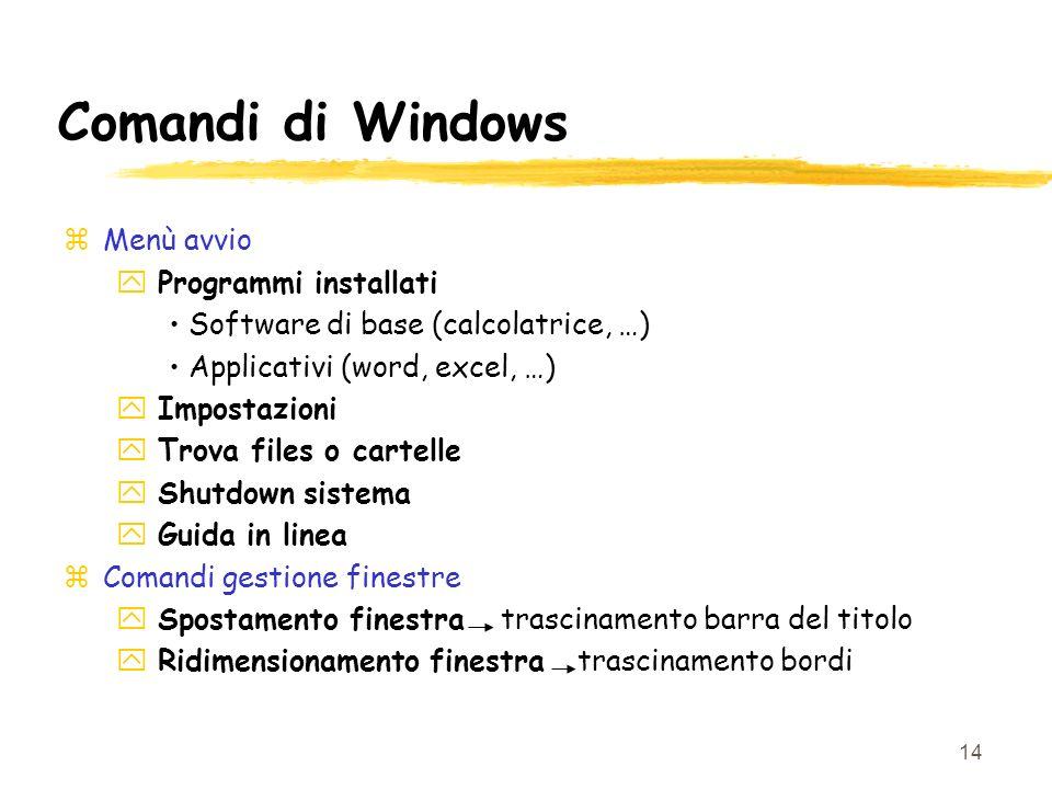 14 Comandi di Windows zMenù avvio y Programmi installati Software di base (calcolatrice, …) Applicativi (word, excel, …) y Impostazioni y Trova files