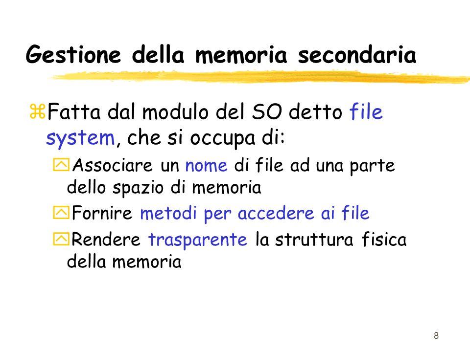 9 File zUnica unita logica di informazione usata dal SO zTutti i dati vengono suddivisi in file zI file vengono memorizzati nelle memorie di massa