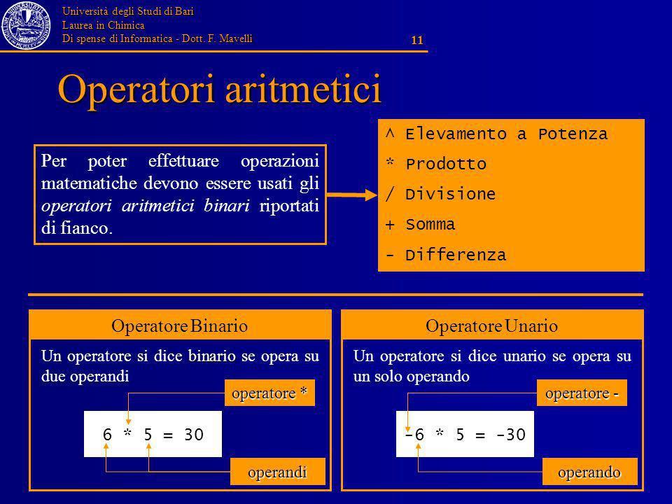 Università degli Studi di Bari Laurea in Chimica Di spense di Informatica - Dott. F. Mavelli 11 Operatori aritmetici ^ Elevamento a Potenza * Prodotto