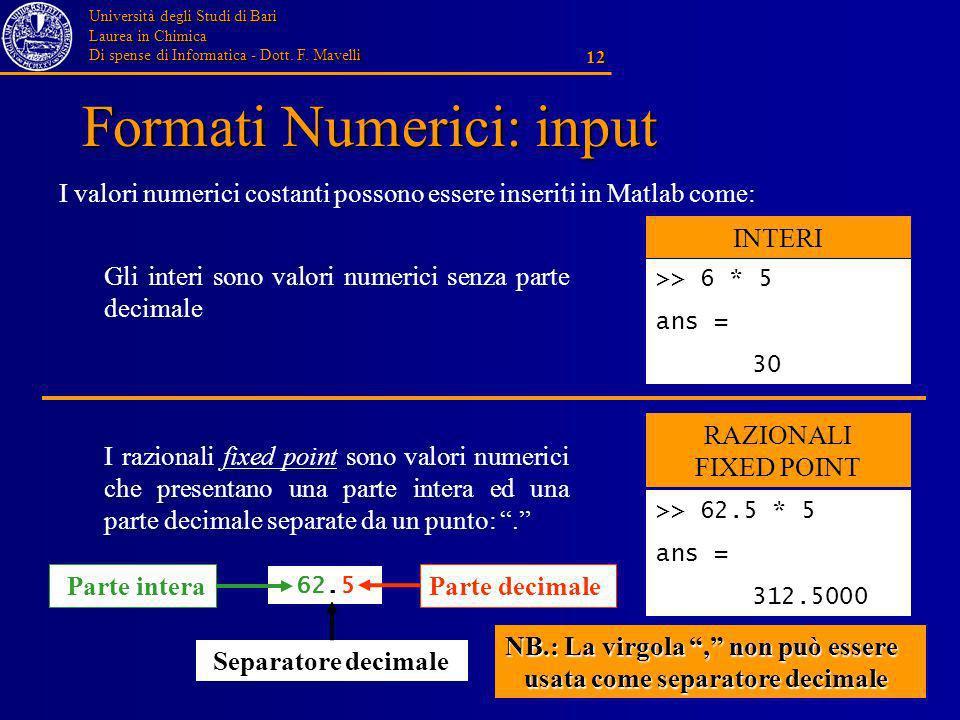Università degli Studi di Bari Laurea in Chimica Di spense di Informatica - Dott. F. Mavelli 12 Formati Numerici: input I valori numerici costanti pos