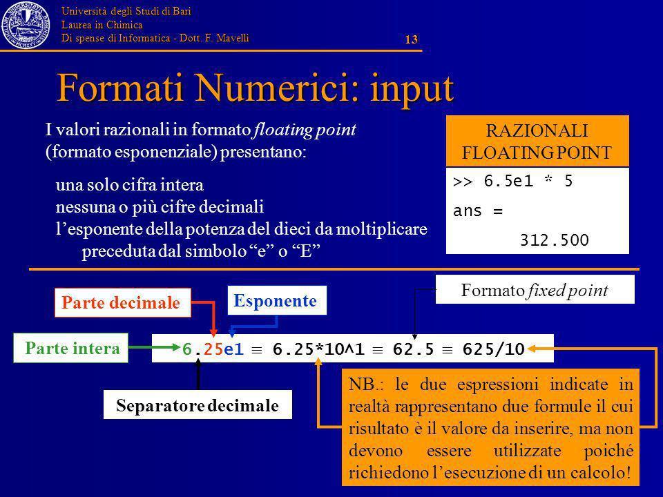 Università degli Studi di Bari Laurea in Chimica Di spense di Informatica - Dott. F. Mavelli 13 Formati Numerici: input una solo cifra intera nessuna