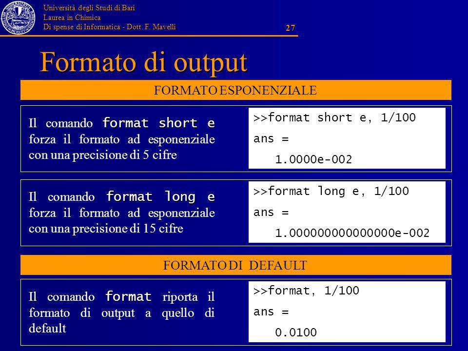 Università degli Studi di Bari Laurea in Chimica Di spense di Informatica - Dott. F. Mavelli 27 Formato di output >>format long e, 1/100 ans = 1.00000