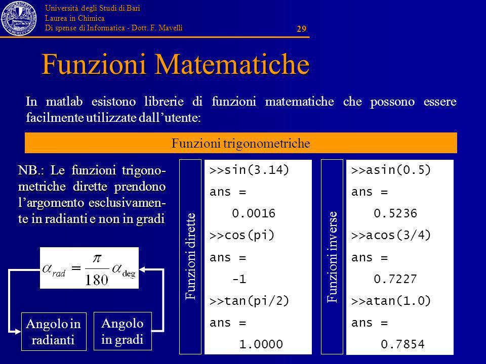 Università degli Studi di Bari Laurea in Chimica Di spense di Informatica - Dott. F. Mavelli 29 Funzioni Matematiche In matlab esistono librerie di fu