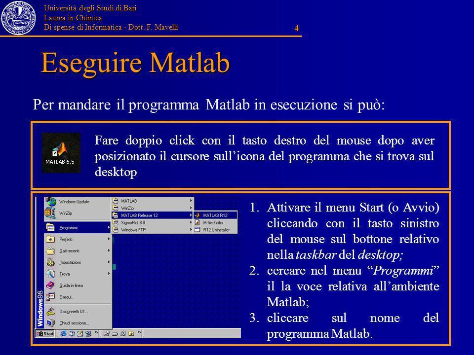 Università degli Studi di Bari Laurea in Chimica Di spense di Informatica - Dott. F. Mavelli 4 Eseguire Matlab Per mandare il programma Matlab in esec