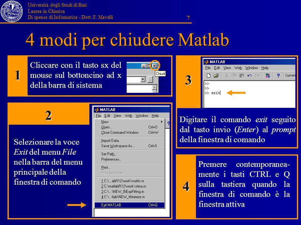 Università degli Studi di Bari Laurea in Chimica Di spense di Informatica - Dott. F. Mavelli 7 4 modi per chiudere Matlab Cliccare con il tasto sx del