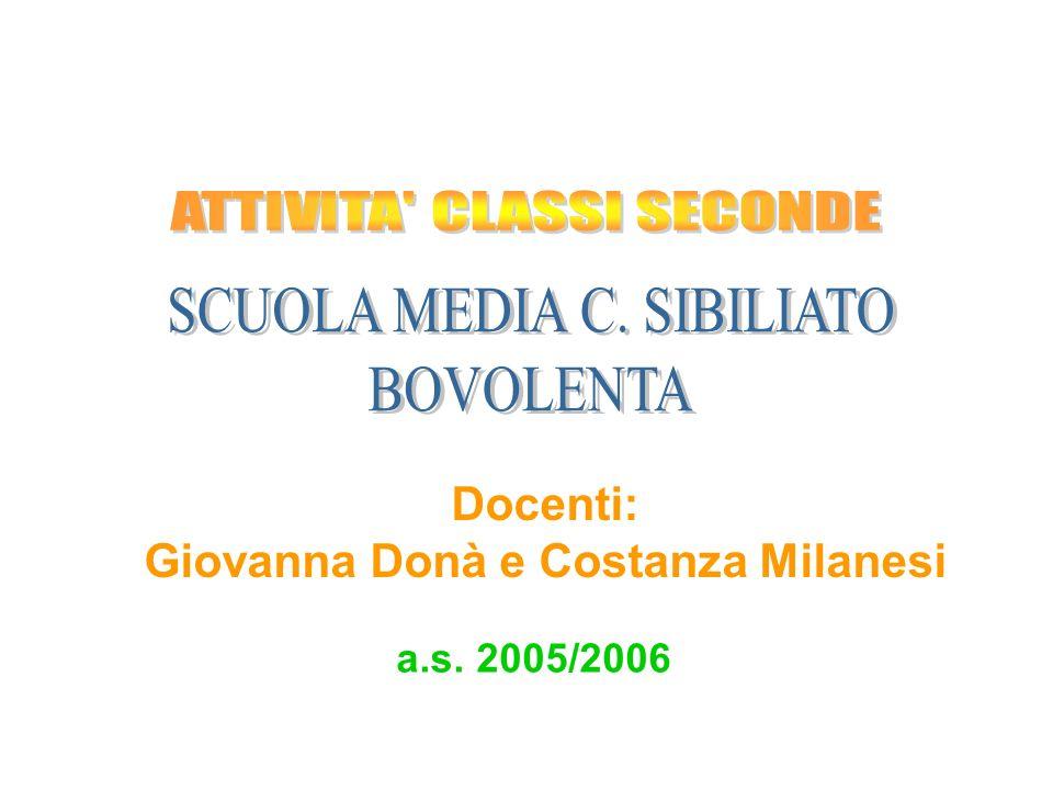 a.s. 2005/2006 Docenti: Giovanna Donà e Costanza Milanesi
