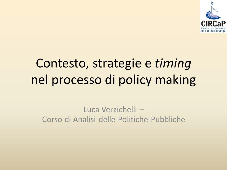 Contesto, strategie e timing nel processo di policy making Luca Verzichelli – Corso di Analisi delle Politiche Pubbliche