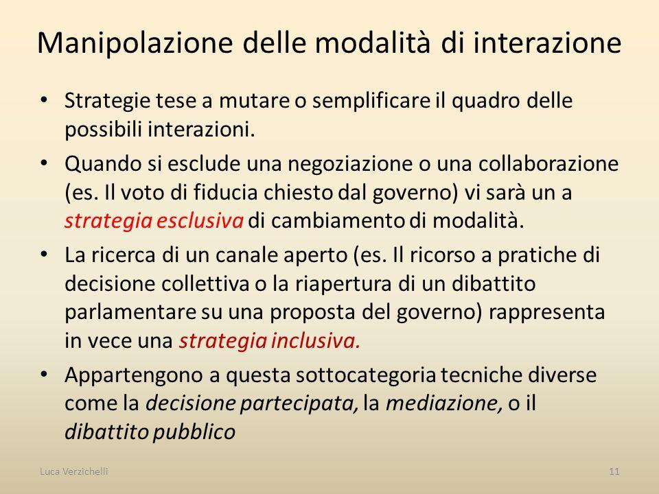 Manipolazione delle modalità di interazione Strategie tese a mutare o semplificare il quadro delle possibili interazioni. Quando si esclude una negozi