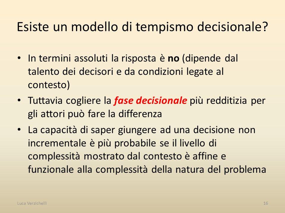 Esiste un modello di tempismo decisionale? In termini assoluti la risposta è no (dipende dal talento dei decisori e da condizioni legate al contesto)