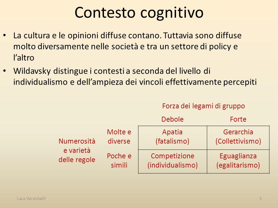 Contesto cognitivo La cultura e le opinioni diffuse contano. Tuttavia sono diffuse molto diversamente nelle società e tra un settore di policy e laltr