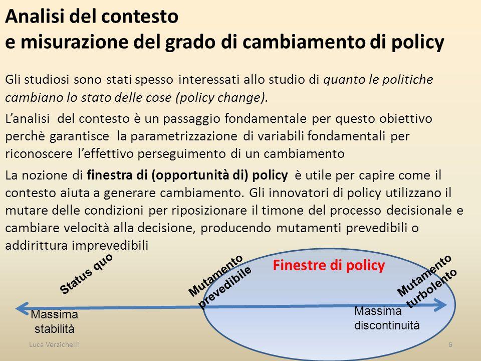 Finestre di policy Analisi del contesto e misurazione del grado di cambiamento di policy Gli studiosi sono stati spesso interessati allo studio di qua