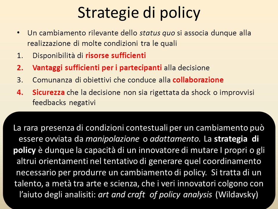 Strategie di policy Un cambiamento rilevante dello status quo si associa dunque alla realizzazione di molte condizioni tra le quali 1.Disponibilità di