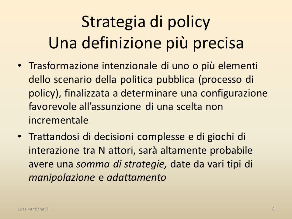 Strategia di policy Una definizione più precisa Trasformazione intenzionale di uno o più elementi dello scenario della politica pubblica (processo di