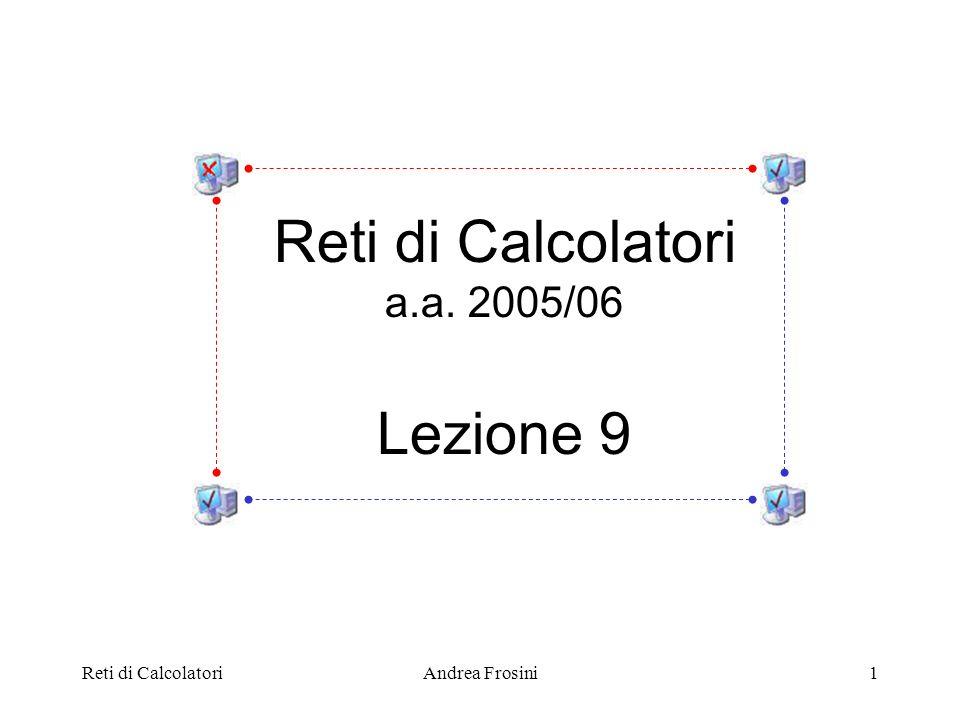 Reti di CalcolatoriAndrea Frosini12 I numeri di sequenza allinterno della finestra di ricezione rappresentano i frame dati che lentità Data Link può accettare.