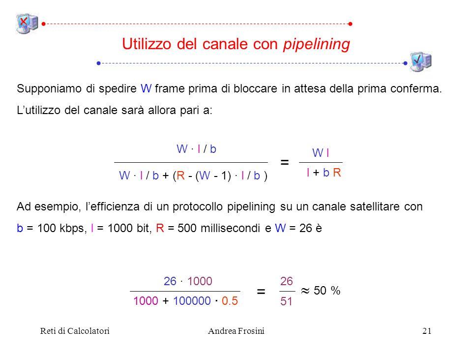 Reti di CalcolatoriAndrea Frosini21 Utilizzo del canale con pipelining Supponiamo di spedire W frame prima di bloccare in attesa della prima conferma.