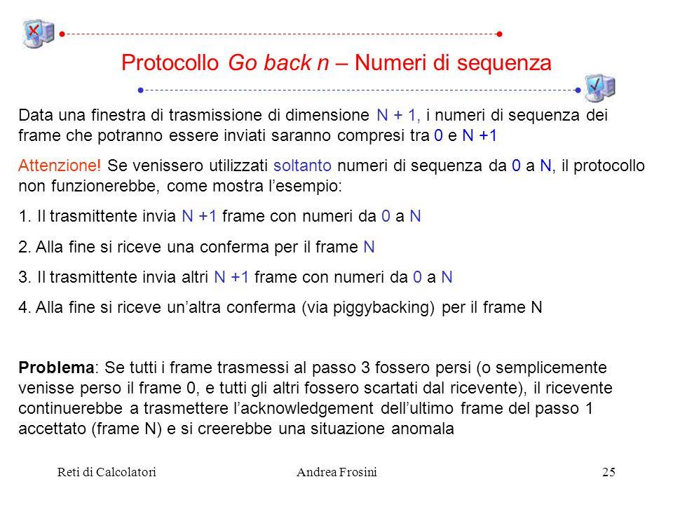 Reti di CalcolatoriAndrea Frosini25 Data una finestra di trasmissione di dimensione N + 1, i numeri di sequenza dei frame che potranno essere inviati saranno compresi tra 0 e N +1 Attenzione.
