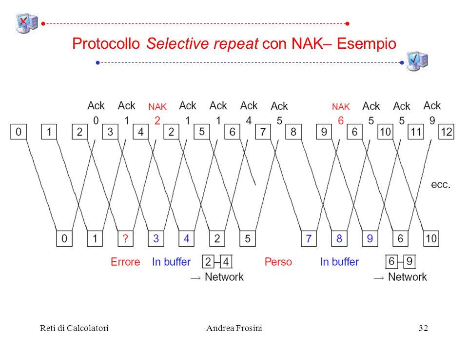 Reti di CalcolatoriAndrea Frosini32 Protocollo Selective repeat con NAK– Esempio