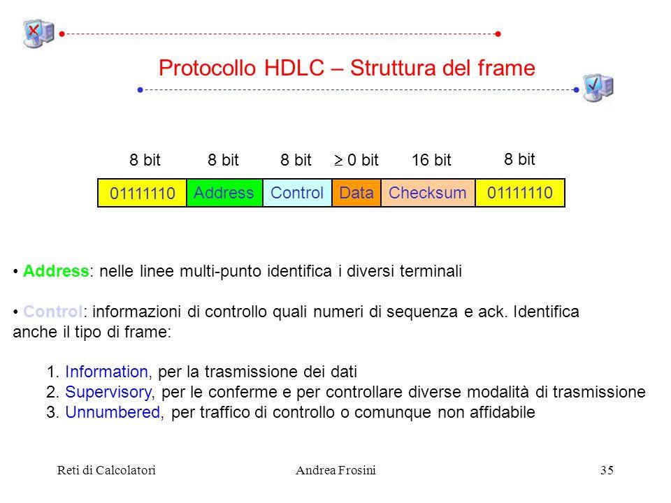 Reti di CalcolatoriAndrea Frosini35 Address: nelle linee multi-punto identifica i diversi terminali Control: informazioni di controllo quali numeri di sequenza e ack.