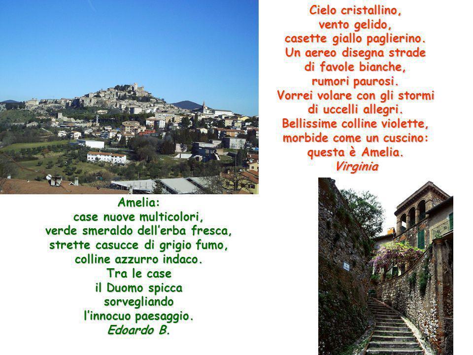 Amelia: case nuove multicolori, verde smeraldo dellerba fresca, strette casucce di grigio fumo, colline azzurro indaco. Tra le case il Duomo spicca so