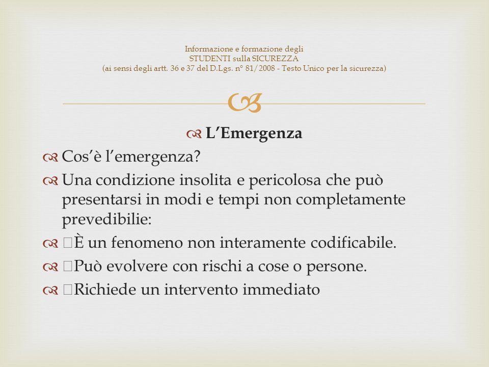 LEmergenza Cosè lemergenza.