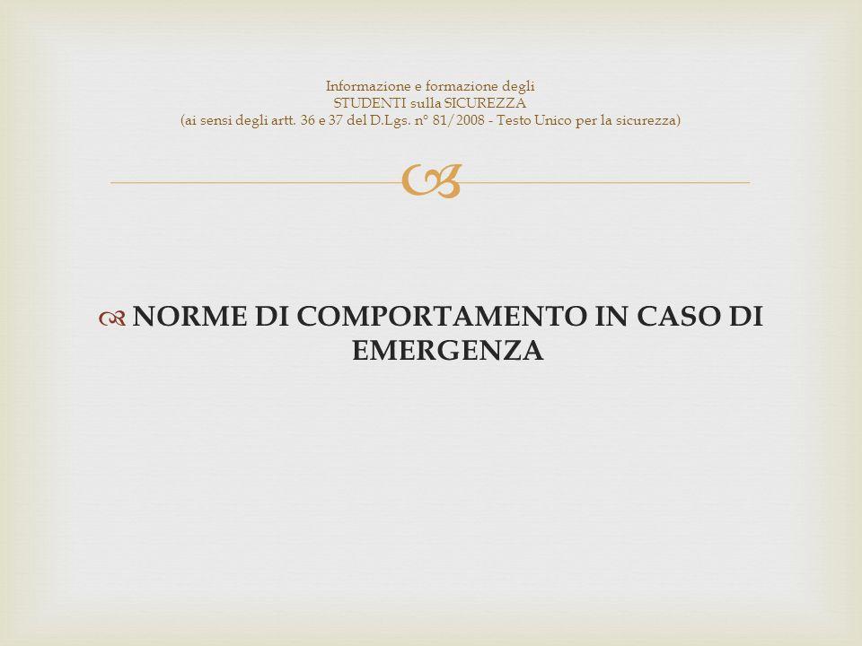 NORME DI COMPORTAMENTO IN CASO DI EMERGENZA Informazione e formazione degli STUDENTI sulla SICUREZZA (ai sensi degli artt.