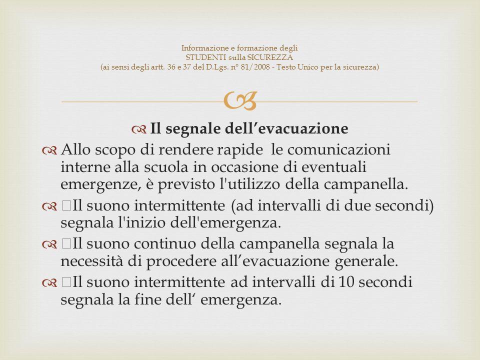 Il segnale dellevacuazione Allo scopo di rendere rapide le comunicazioni interne alla scuola in occasione di eventuali emergenze, è previsto l utilizzo della campanella.