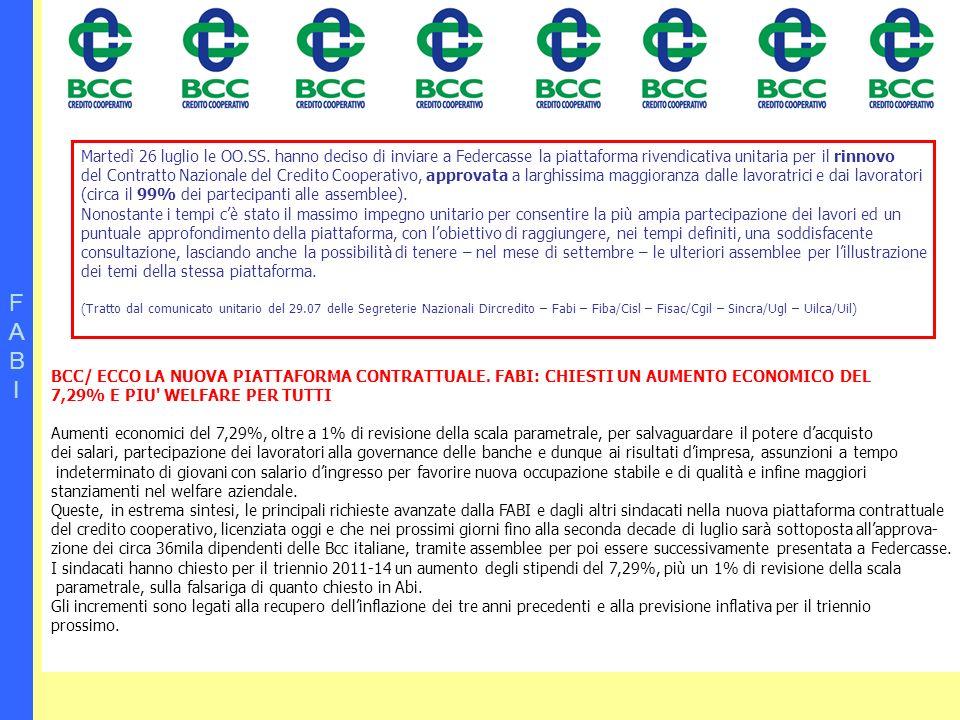 FABIFABI BCC/ ECCO LA NUOVA PIATTAFORMA CONTRATTUALE. FABI: CHIESTI UN AUMENTO ECONOMICO DEL 7,29% E PIU' WELFARE PER TUTTI Aumenti economici del 7,29