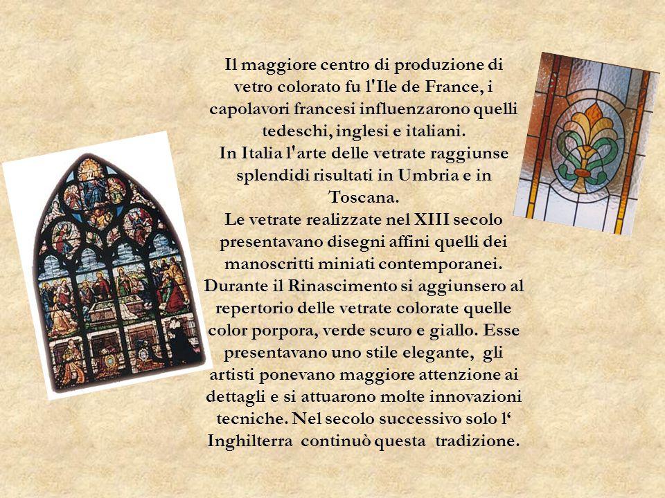 In Italia questarte si affermò più tardi rispetto alla Francia, Germania e Inghilterra e assunse uno stile del tutto autonomo: ciò si deve al fatto che i primi artisti a praticarla furono pittori e non vetrai, come avvenne nellEuropa Settentrionale.