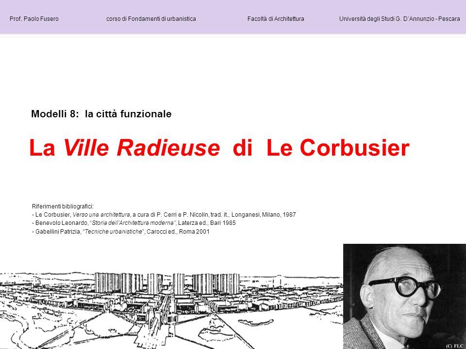 Modelli 8: la città funzionale La Ville Radieuse di Le Corbusier Prof. Paolo Fusero corso di Fondamenti di urbanistica Facoltà di Architettura Univers