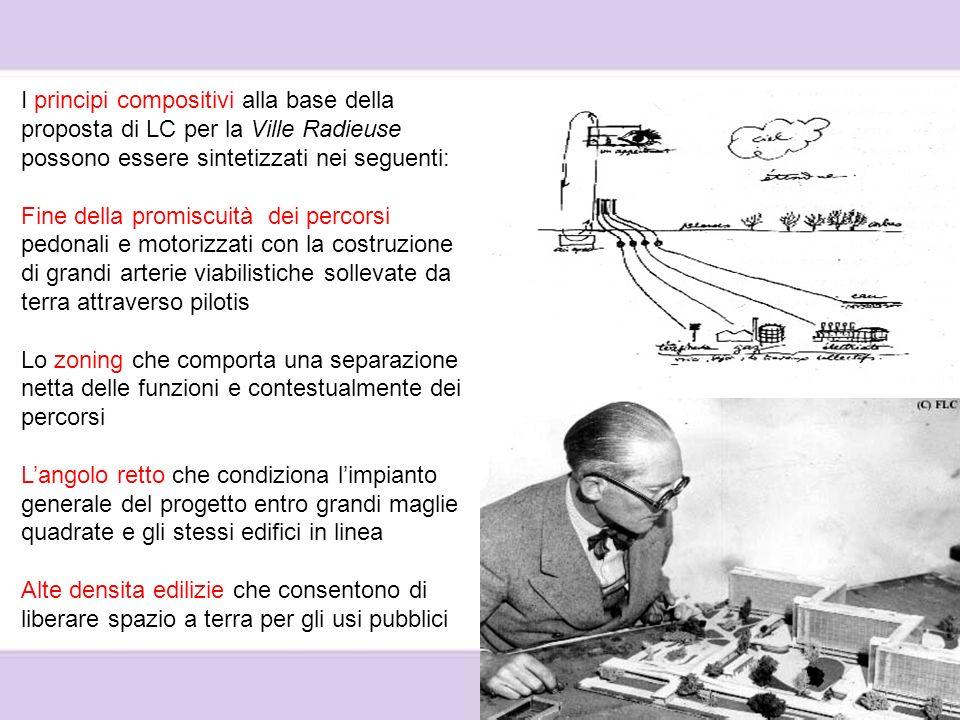 I principi compositivi alla base della proposta di LC per la Ville Radieuse possono essere sintetizzati nei seguenti: Fine della promiscuità dei perco