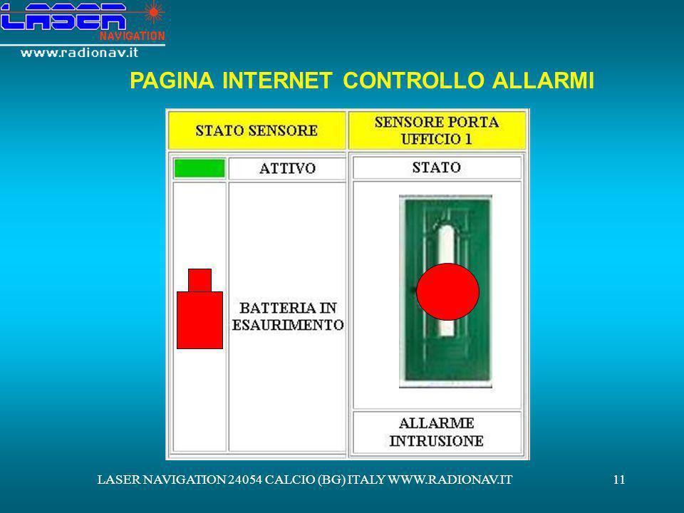 LASER NAVIGATION 24054 CALCIO (BG) ITALY WWW.RADIONAV.IT11 PAGINA INTERNET CONTROLLO ALLARMI
