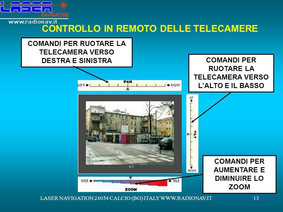 LASER NAVIGATION 24054 CALCIO (BG) ITALY WWW.RADIONAV.IT13 CONTROLLO IN REMOTO DELLE TELECAMERE COMANDI PER RUOTARE LA TELECAMERA VERSO DESTRA E SINIS
