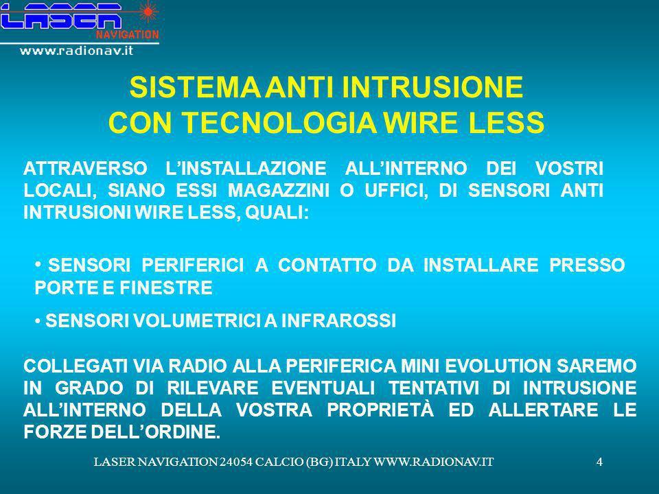LASER NAVIGATION 24054 CALCIO (BG) ITALY WWW.RADIONAV.IT4 SISTEMA ANTI INTRUSIONE CON TECNOLOGIA WIRE LESS ATTRAVERSO LINSTALLAZIONE ALLINTERNO DEI VO