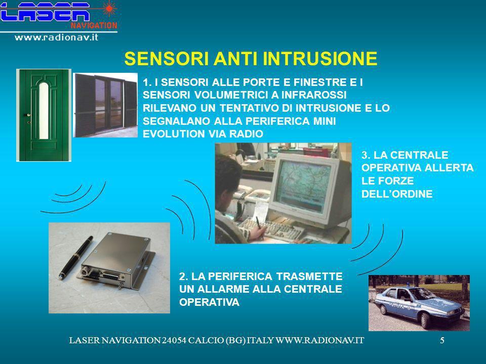 LASER NAVIGATION 24054 CALCIO (BG) ITALY WWW.RADIONAV.IT6 SORVEGLIANZA TRAMITE LIMPIEGO DI TELECAMERE DI SORVEGLIANZA INSTALLANDO ALLINTERNO DELLA VOSTRA PROPRIETÀ DELLE TELECAMERE DI SORVEGLIANZA, ALLARRIVO IN CENTRALE DI UN SEGNALE DALLARME PROVENIENTE DAI SENSORI ANTI INTRUSIONE LOPERATORE DI CENTRALE PROVVEDERÀ: 1.AD ATTIVARE LA REGISTRAZIONE DELLE IMMAGINI TRASMESSE DALLE TELECAMERE 2.A VERIFICARE LA SITUAZIONE ATTRAVERSO LE TELECAMERE 3.IN CASO DI NECESSITÀ A CHIAMARE LE FORZE DELLORDINE
