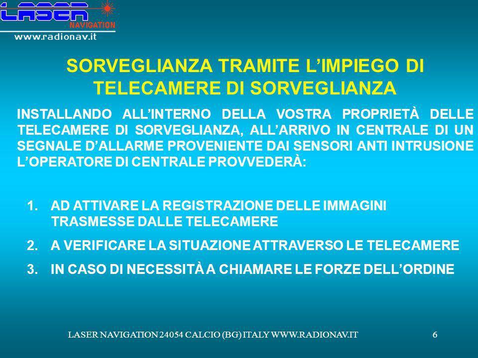 LASER NAVIGATION 24054 CALCIO (BG) ITALY WWW.RADIONAV.IT6 SORVEGLIANZA TRAMITE LIMPIEGO DI TELECAMERE DI SORVEGLIANZA INSTALLANDO ALLINTERNO DELLA VOS
