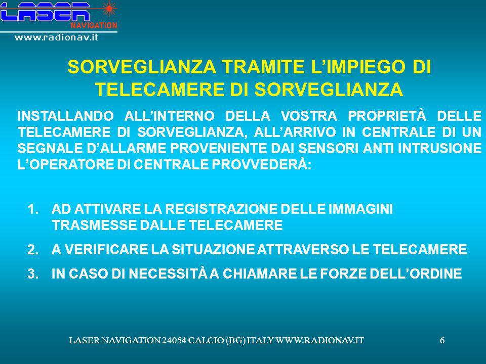LASER NAVIGATION 24054 CALCIO (BG) ITALY WWW.RADIONAV.IT7 TELECAMERE DI SORVEGLIANZA 3.